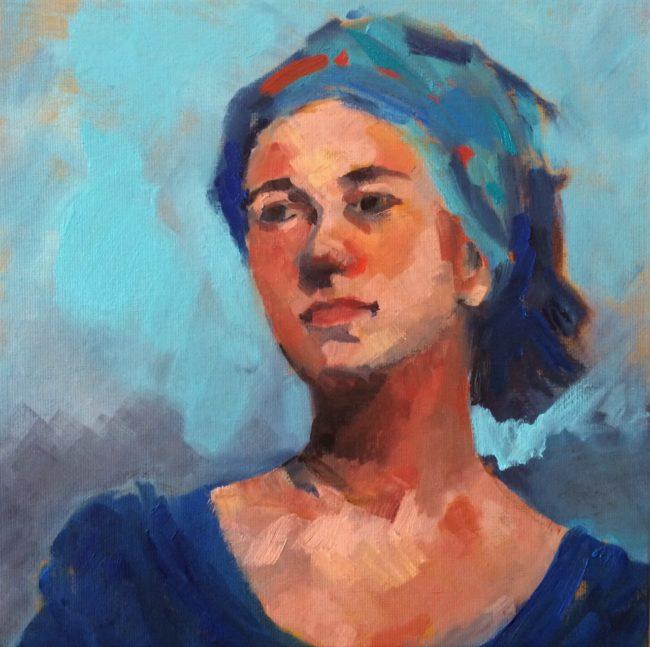 La jeune fille au turban bleu- Catherine Dartiguenave -hst2018 40x40