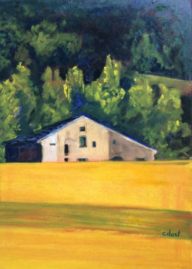 Paysage jaune à la maison - Catherine Dartiguenave - hst2017 46x33