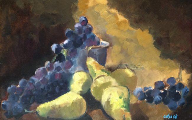 Poires et muscat - Catherine Dartiguenave - huile2018 48x36cm