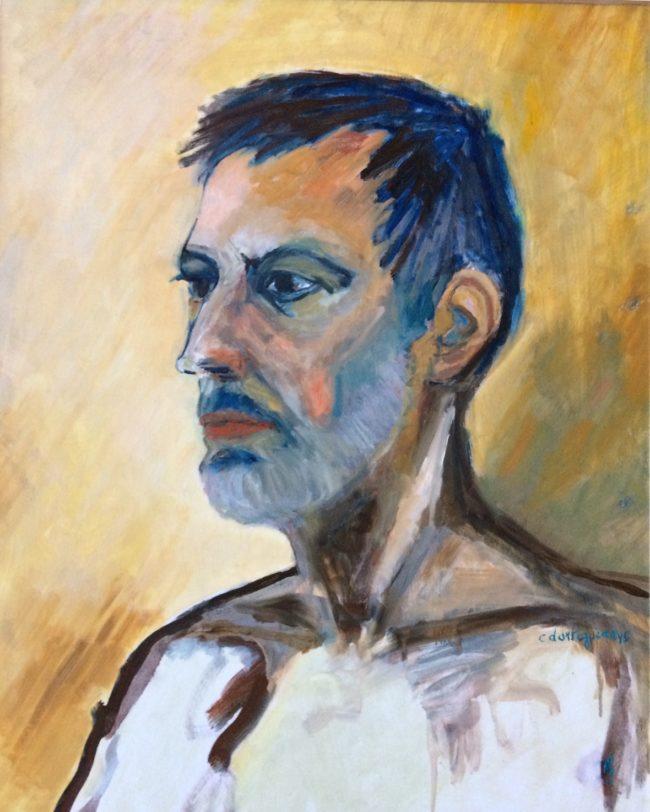 Portrait bleu, Catherine Dartiguenave - huile sur papier2016 61x50