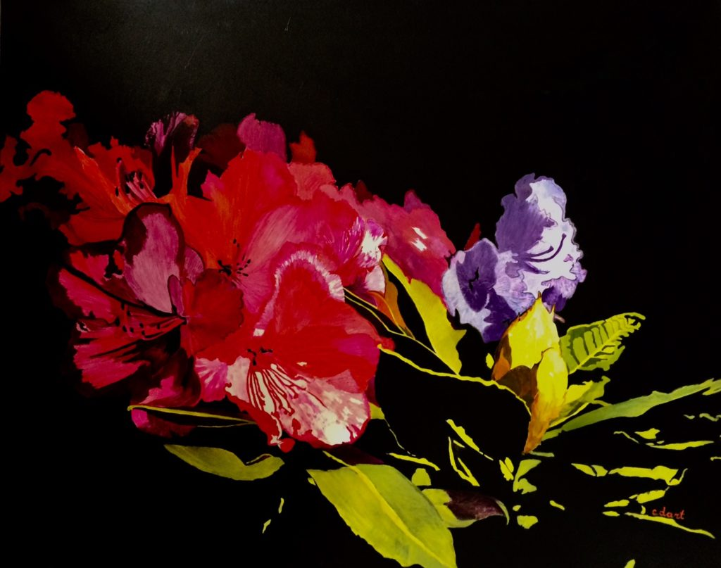 Rhododendron Huile sur toile 92 x 73 cm