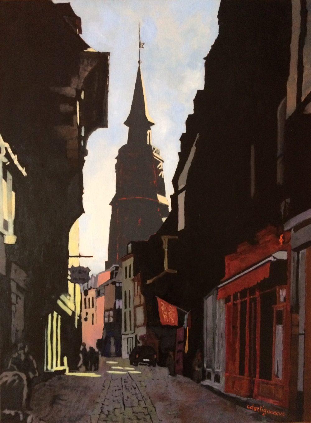 Rue haute de Dinan -Catherine Dartiguenave - hst2018 73x54