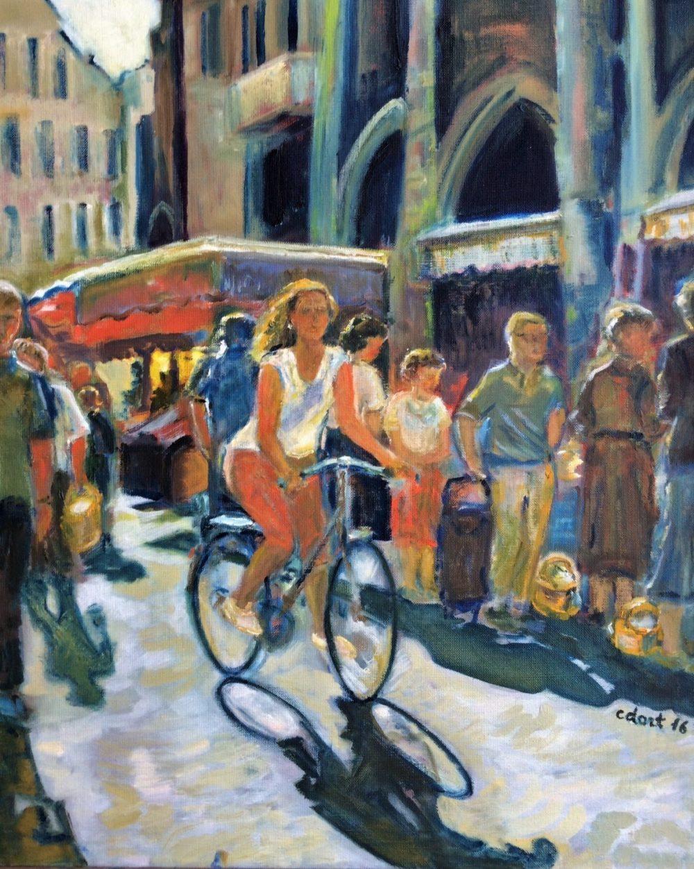 Scène de marché -Catherine Dartiguenave- huile sur toile 2016 61x50