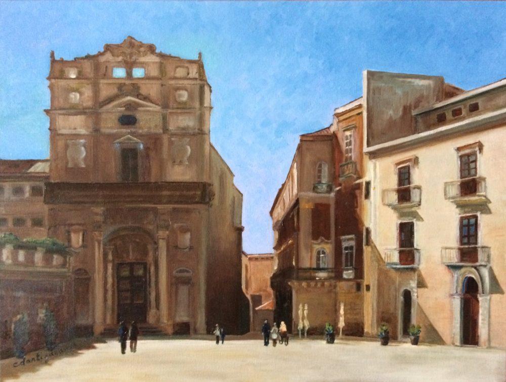 Syracuse, la Piazza del Duomo -Catherine Dartiguenave -hst2016 61x46