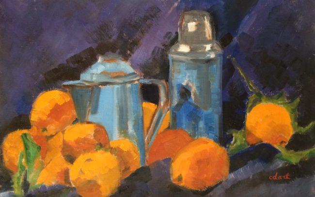 Thermos bleus aux oranges- Catherine Dartiguenave-huile2018 48x36