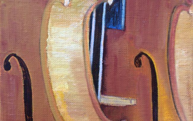 Duo de violons - Catherine Dartiguenave- huile sur toile