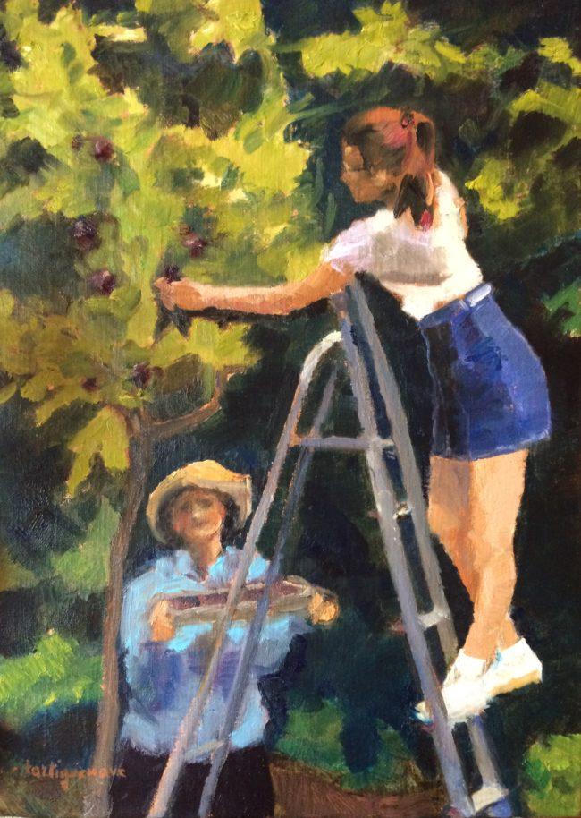 La cueillette des prunes-Catherine Dartiguenave- huile sur toile 2019 46x33
