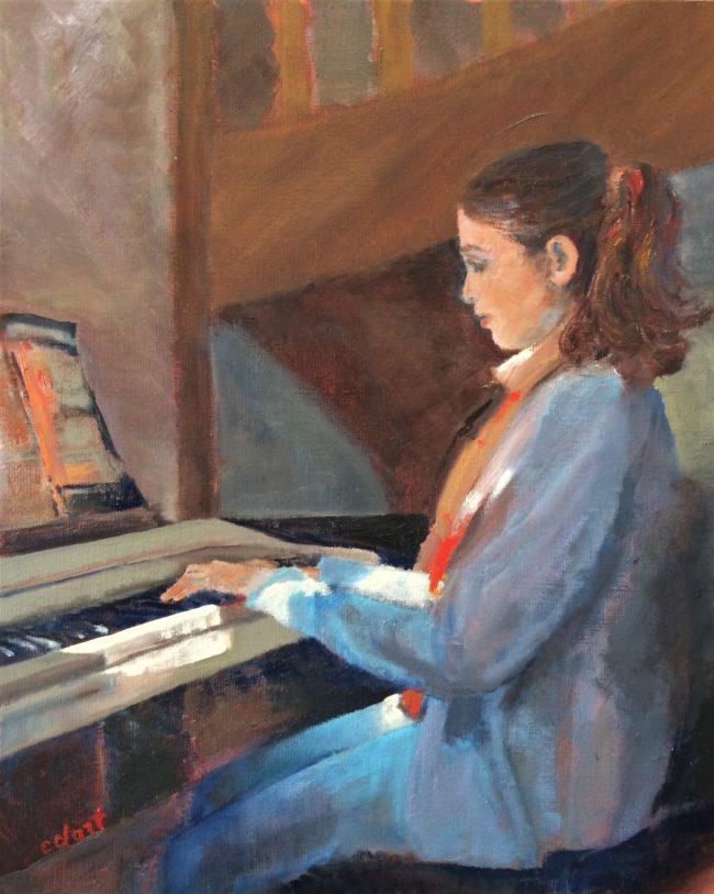 La leçon de piano-Catherine Dartiguenave- huile sur toile 2018
