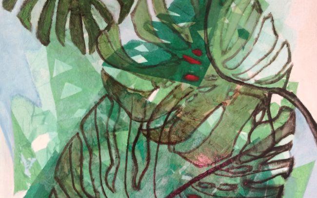 Les baies rouges papier de soie -Catherine Dartiguenave- huile sur toile 2019
