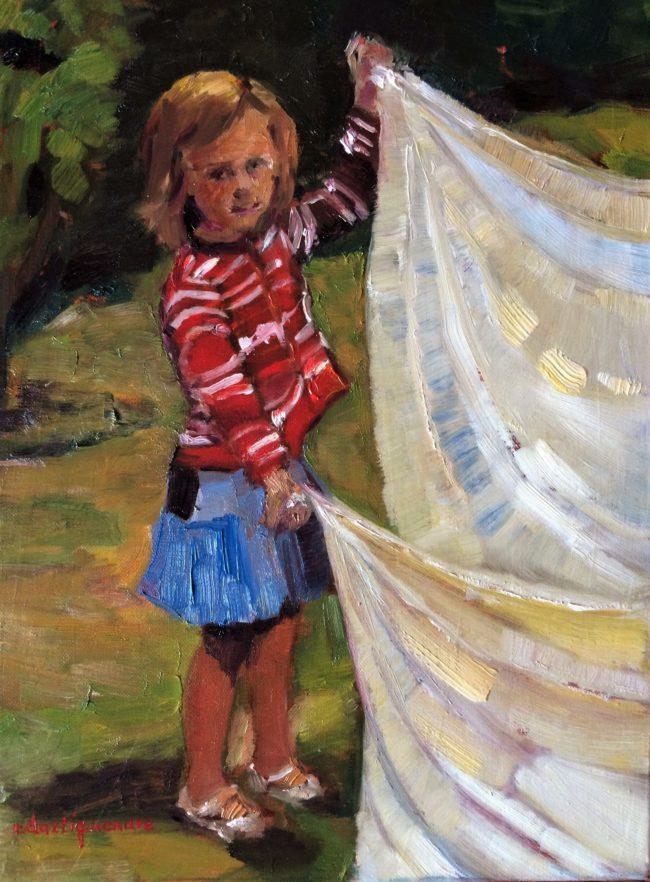 Les draps -Catherine Dartiguenave- huile sur toile 30x40
