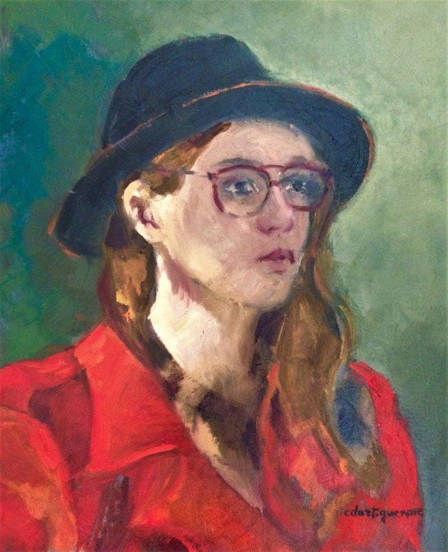 Les lunettes rouges-Catherine Dartiguenave- huile sur toile 33x41