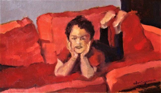 Sur le canapé rouge-Catherine Dartiguenave-hst2019 27x46
