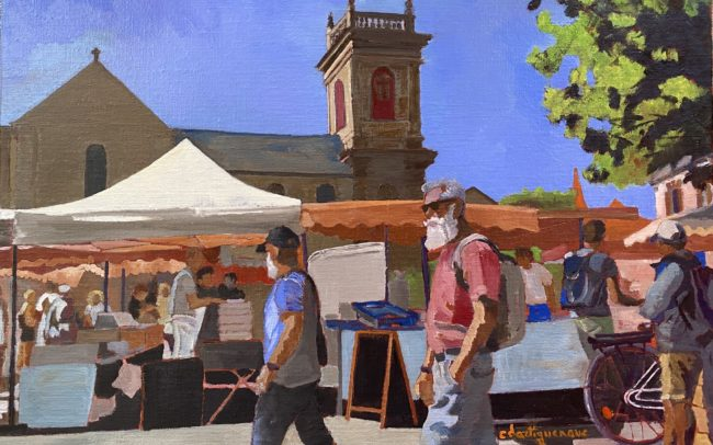 Scène de marché à Saint-Gildas-Catherine Dartiguenave- hst2020 33x41
